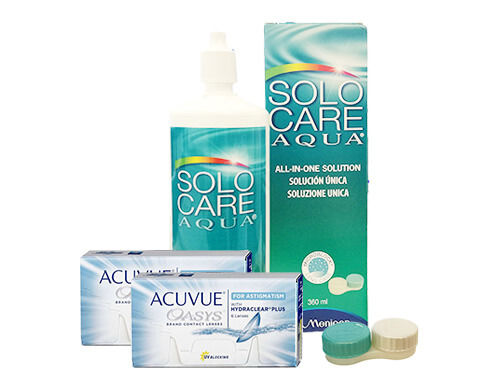 Lentes de Contato Acuvue Oasys for Astigmatism + Solo Care Aqua - Packs