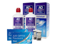 Lentes de Contato Air Optix Plus HydraGlyde + Aosept Plus HydraGlyde - Packs