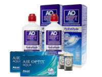 Lentes de Contato Air Optix Aqua + Aosept Plus HydraGlyde - Packs