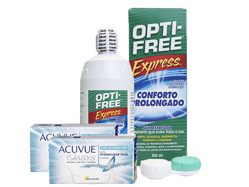 Lentes de Contato Acuvue Oasys for Astigmatism + Opti-Free Express - Packs