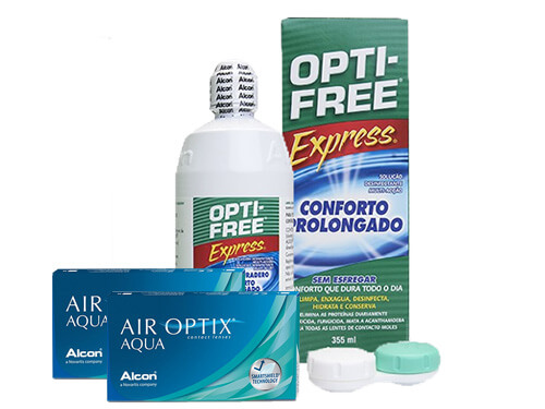 Lentes de Contato Air Optix Aqua + Opti-Free Express - Packs