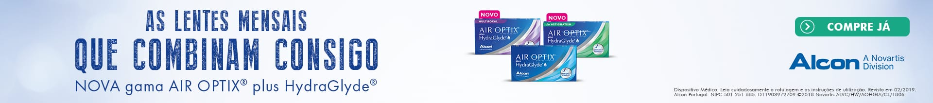 As lentes de contacto Air Optix Hydraglyde mensias que combinam consigo