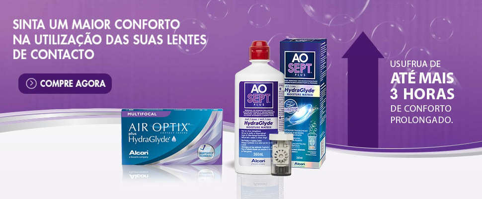 Mais de 3 Horas de Conforto nas Lentes Air Optix Hydraglyde Multifocais com Aosept Plus