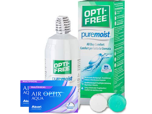 Lentes de Contato Air Optix Aqua Multifocal + Opti-Free PureMoist - Packs