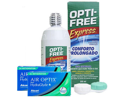Lentes de Contato Air Optix Plus HydraGlyde for Astigmatism + Opti-Free Express - Packs